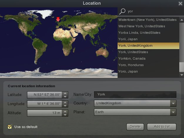 screenshot showing location dialog