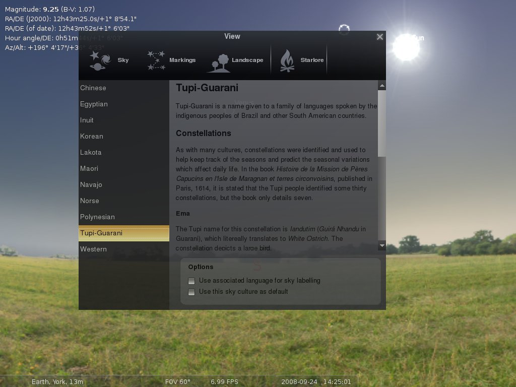 screenshot showing extra info about sky cultures