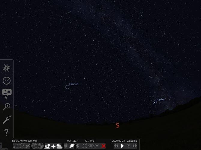 Interfaz de Stellarium.